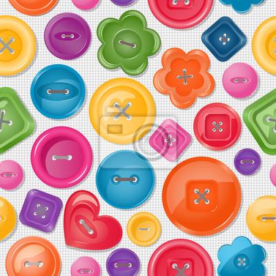 Постер Дизайнерские обои для детской Бесшовный фон с разноцветными кнопкамиДизайнерские обои для детской<br>Постер на холсте или бумаге. Любого нужного вам размера. В раме или без. Подвес в комплекте. Трехслойная надежная упаковка. Доставим в любую точку России. Вам осталось только повесить картину на стену!<br>