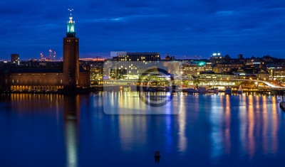 Постер Стокгольм Стокгольм cityhall силуэт в ночиСтокгольм<br>Постер на холсте или бумаге. Любого нужного вам размера. В раме или без. Подвес в комплекте. Трехслойная надежная упаковка. Доставим в любую точку России. Вам осталось только повесить картину на стену!<br>