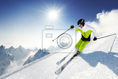 Лыжник в горах, подготовленные трассы и Солнечный день, 30x20 см, на бумагеГорные лыжи<br>Постер на холсте или бумаге. Любого нужного вам размера. В раме или без. Подвес в комплекте. Трехслойная надежная упаковка. Доставим в любую точку России. Вам осталось только повесить картину на стену!<br>