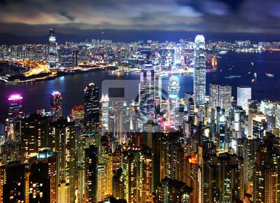 Постер Города и карты Гонконг ночью вид с пика, 28x20 см, на бумагеГонконг<br>Постер на холсте или бумаге. Любого нужного вам размера. В раме или без. Подвес в комплекте. Трехслойная надежная упаковка. Доставим в любую точку России. Вам осталось только повесить картину на стену!<br>