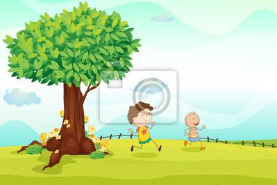 Постер Разные детские постеры Дети играют в футболРазные детские постеры<br>Постер на холсте или бумаге. Любого нужного вам размера. В раме или без. Подвес в комплекте. Трехслойная надежная упаковка. Доставим в любую точку России. Вам осталось только повесить картину на стену!<br>