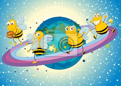 Постер Разные детские постеры Мед пчелы на СатурнеРазные детские постеры<br>Постер на холсте или бумаге. Любого нужного вам размера. В раме или без. Подвес в комплекте. Трехслойная надежная упаковка. Доставим в любую точку России. Вам осталось только повесить картину на стену!<br>