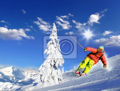 Лыжник на лыжах с горы на горы, 26x20 см, на бумагеГорные лыжи<br>Постер на холсте или бумаге. Любого нужного вам размера. В раме или без. Подвес в комплекте. Трехслойная надежная упаковка. Доставим в любую точку России. Вам осталось только повесить картину на стену!<br>