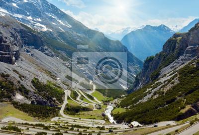 Постер Альпийский пейзаж Летом Stelvio pass (Италия)Альпийский пейзаж<br>Постер на холсте или бумаге. Любого нужного вам размера. В раме или без. Подвес в комплекте. Трехслойная надежная упаковка. Доставим в любую точку России. Вам осталось только повесить картину на стену!<br>
