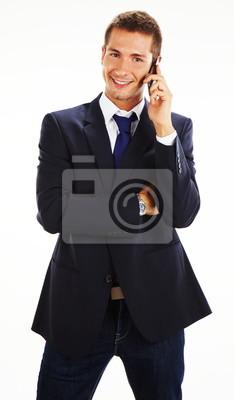 Постер Праздники Случайные бизнесмен разговаривает по мобильному телефону, 20x34 см, на бумаге11.07 Всемирный день мужчин<br>Постер на холсте или бумаге. Любого нужного вам размера. В раме или без. Подвес в комплекте. Трехслойная надежная упаковка. Доставим в любую точку России. Вам осталось только повесить картину на стену!<br>