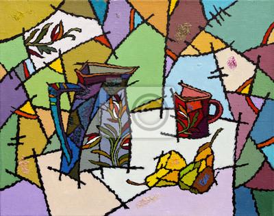 Масляными красками изображение, 25x20 см, на бумагеНатюрморт в современной живописи<br>Постер на холсте или бумаге. Любого нужного вам размера. В раме или без. Подвес в комплекте. Трехслойная надежная упаковка. Доставим в любую точку России. Вам осталось только повесить картину на стену!<br>