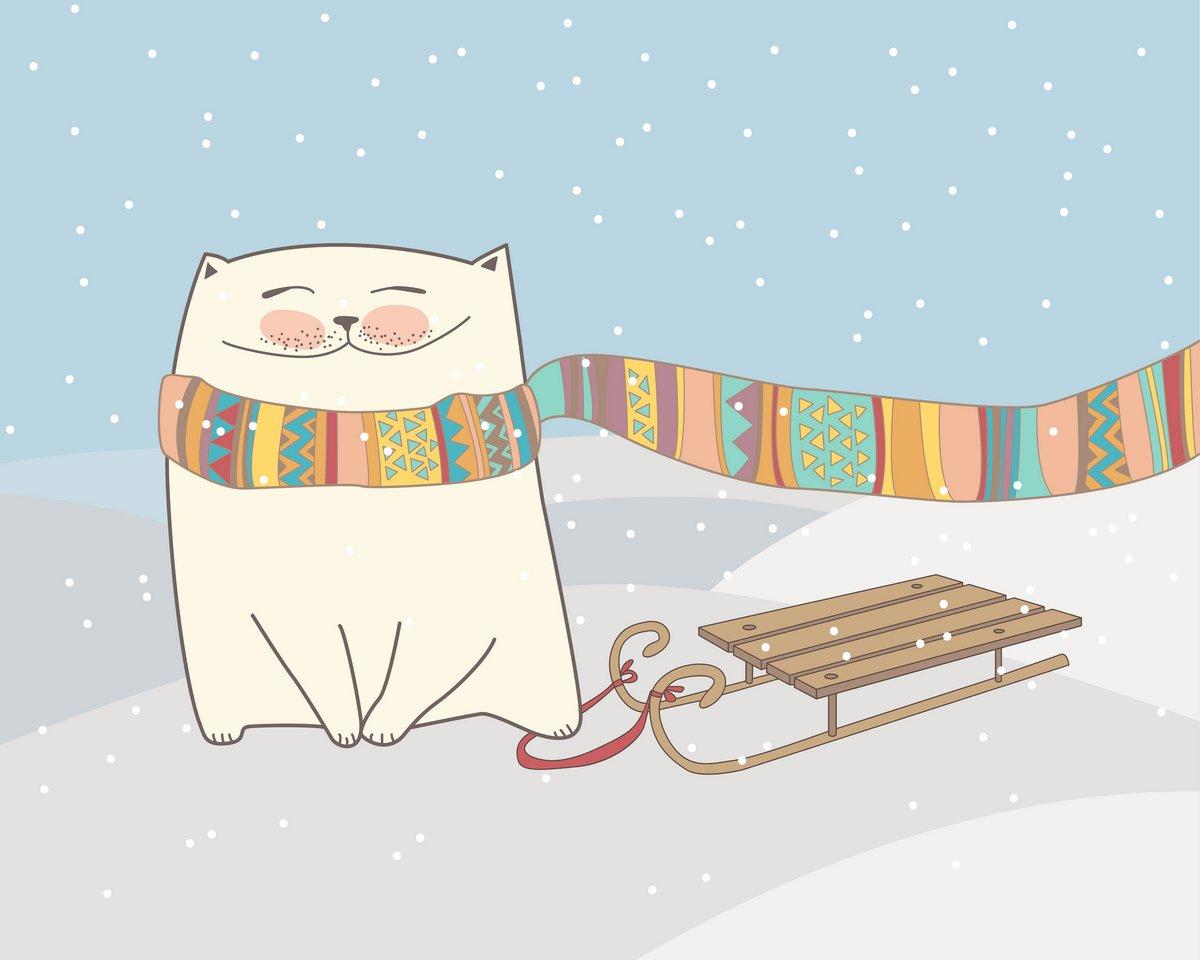 Постер Разные детские постеры Зимний Рисунок с котом в шарф, сани и снег. ВекторРазные детские постеры<br>Постер на холсте или бумаге. Любого нужного вам размера. В раме или без. Подвес в комплекте. Трехслойная надежная упаковка. Доставим в любую точку России. Вам осталось только повесить картину на стену!<br>