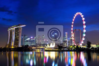Постер Сингапур Сингапур-город ночью, 30x20 см, на бумагеСингапур<br>Постер на холсте или бумаге. Любого нужного вам размера. В раме или без. Подвес в комплекте. Трехслойная надежная упаковка. Доставим в любую точку России. Вам осталось только повесить картину на стену!<br>