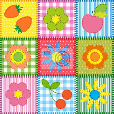 Постер Дизайнерские обои для детской Лоскутное с цветами, вишни, яблок и клубникиДизайнерские обои для детской<br>Постер на холсте или бумаге. Любого нужного вам размера. В раме или без. Подвес в комплекте. Трехслойная надежная упаковка. Доставим в любую точку России. Вам осталось только повесить картину на стену!<br>