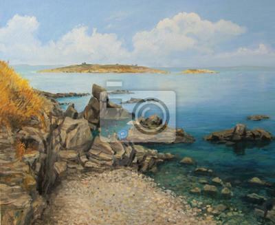 Средиземноморье, современный пейзаж Летом на побережье СозополяСредиземноморье, современный пейзаж<br>Репродукция на холсте или бумаге. Любого нужного вам размера. В раме или без. Подвес в комплекте. Трехслойная надежная упаковка. Доставим в любую точку России. Вам осталось только повесить картину на стену!<br>