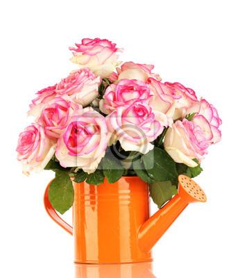 Постер Розы Красивый букет из розовых роз в лейку, изолированныеРозы<br>Постер на холсте или бумаге. Любого нужного вам размера. В раме или без. Подвес в комплекте. Трехслойная надежная упаковка. Доставим в любую точку России. Вам осталось только повесить картину на стену!<br>