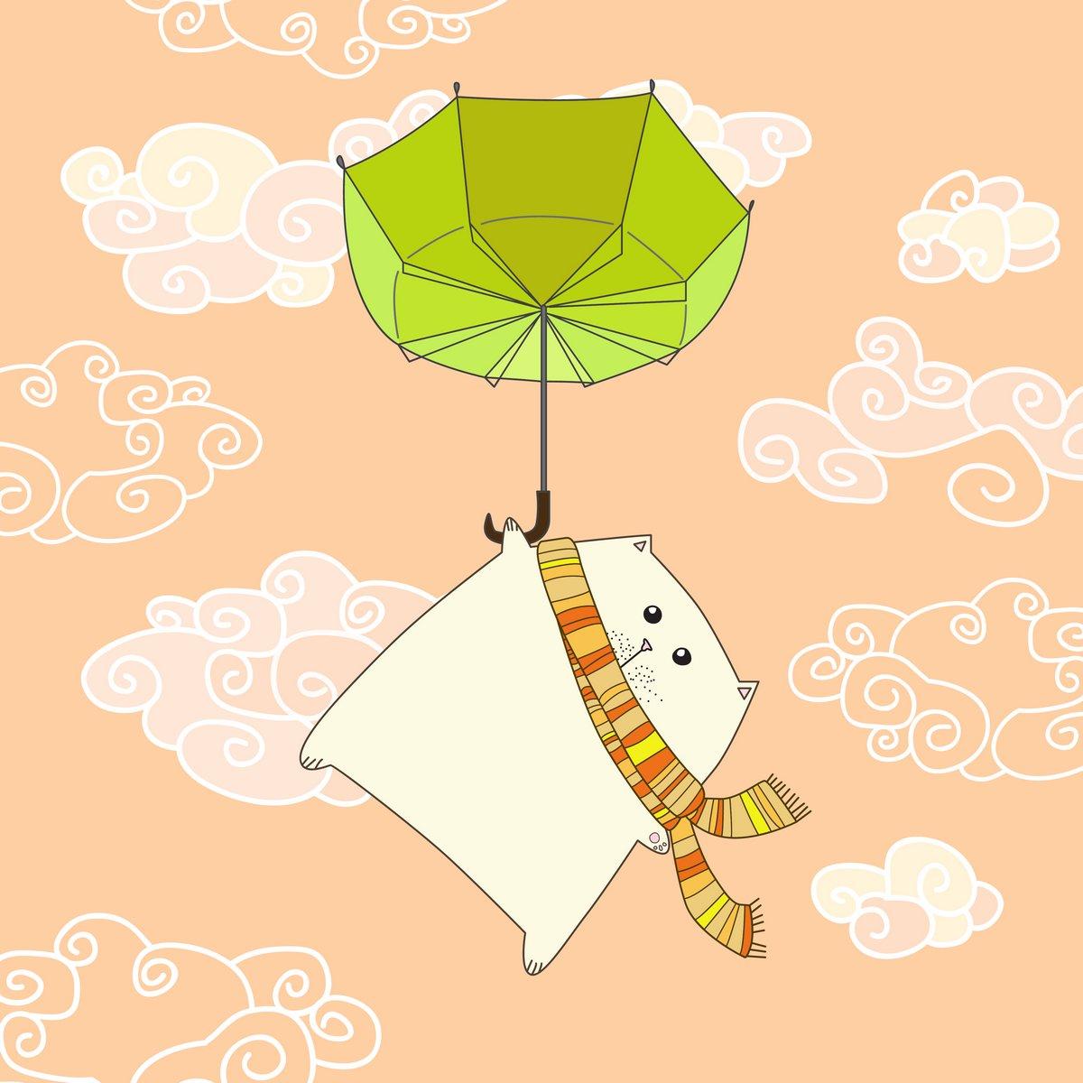 Постер Разные детские постеры Летающий Кот на зонт. Векторные иллюстрацииРазные детские постеры<br>Постер на холсте или бумаге. Любого нужного вам размера. В раме или без. Подвес в комплекте. Трехслойная надежная упаковка. Доставим в любую точку России. Вам осталось только повесить картину на стену!<br>