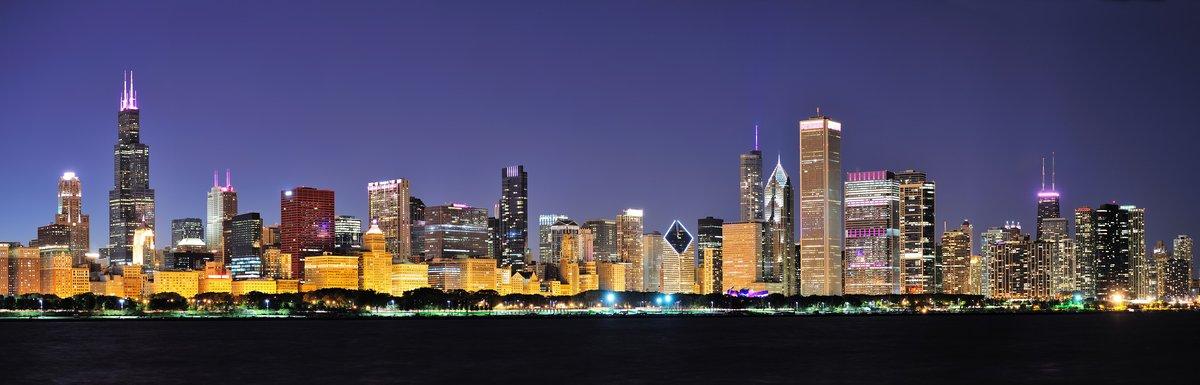 Постер Архитектура Чикаго ночь панорама, 62x20 см, на бумагеНебоскребы<br>Постер на холсте или бумаге. Любого нужного вам размера. В раме или без. Подвес в комплекте. Трехслойная надежная упаковка. Доставим в любую точку России. Вам осталось только повесить картину на стену!<br>