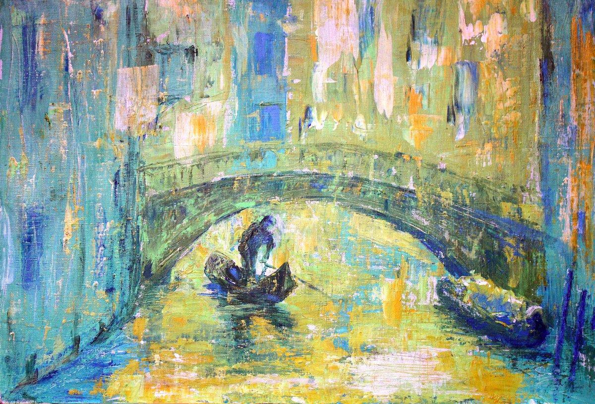 Постер Венеция Видом на канал катер и мост в ВенецииВенеция<br>Постер на холсте или бумаге. Любого нужного вам размера. В раме или без. Подвес в комплекте. Трехслойная надежная упаковка. Доставим в любую точку России. Вам осталось только повесить картину на стену!<br>