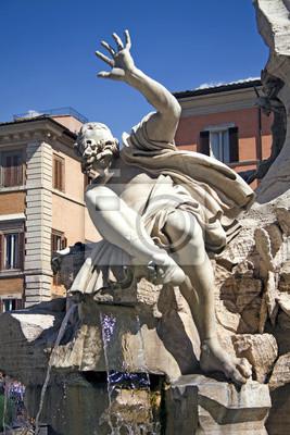 Постер Ватикан Бернини речного Бога Рио-Дель-плата, Piazza Navona, Рим, Италия.Ватикан<br>Постер на холсте или бумаге. Любого нужного вам размера. В раме или без. Подвес в комплекте. Трехслойная надежная упаковка. Доставим в любую точку России. Вам осталось только повесить картину на стену!<br>