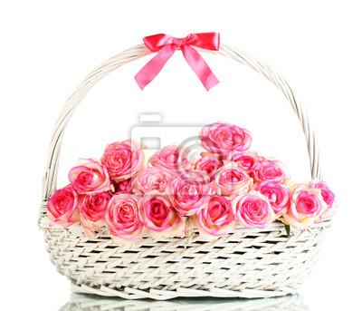 Постер Розы Красивый букет из розовых роз в корзине, изолированных на беломРозы<br>Постер на холсте или бумаге. Любого нужного вам размера. В раме или без. Подвес в комплекте. Трехслойная надежная упаковка. Доставим в любую точку России. Вам осталось только повесить картину на стену!<br>