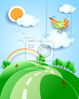 Постер Дизайнерские обои для детской Фантазия пейзаж с птицейДизайнерские обои для детской<br>Постер на холсте или бумаге. Любого нужного вам размера. В раме или без. Подвес в комплекте. Трехслойная надежная упаковка. Доставим в любую точку России. Вам осталось только повесить картину на стену!<br>
