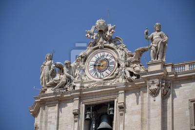Постер Ватикан Часы на крыше базилики Святого Петра в ВатиканеВатикан<br>Постер на холсте или бумаге. Любого нужного вам размера. В раме или без. Подвес в комплекте. Трехслойная надежная упаковка. Доставим в любую точку России. Вам осталось только повесить картину на стену!<br>
