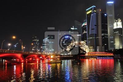 Постер Сингапур СИНГАПУР - 4 ФЕВРАЛЯ: Bay Сингапура ночью, 4 сентября 2011 года в СиСингапур<br>Постер на холсте или бумаге. Любого нужного вам размера. В раме или без. Подвес в комплекте. Трехслойная надежная упаковка. Доставим в любую точку России. Вам осталось только повесить картину на стену!<br>