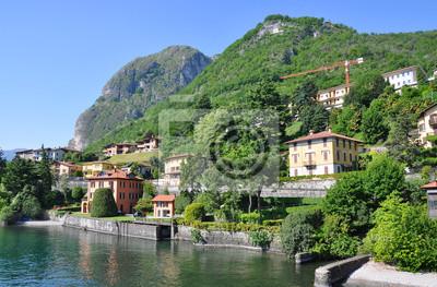 Постер Альпийский пейзаж _ _ Hotel _ _ город на известного итальянского озера КомоАльпийский пейзаж<br>Постер на холсте или бумаге. Любого нужного вам размера. В раме или без. Подвес в комплекте. Трехслойная надежная упаковка. Доставим в любую точку России. Вам осталось только повесить картину на стену!<br>