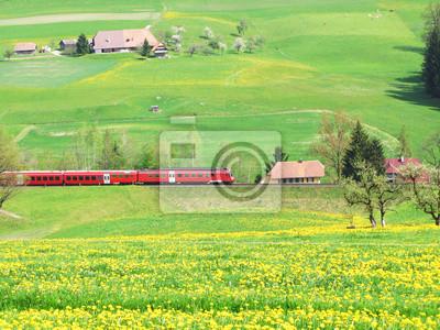 Постер Одуванчики Альпийский Экспресс в Эмменталь области, ШвейцарияОдуванчики<br>Постер на холсте или бумаге. Любого нужного вам размера. В раме или без. Подвес в комплекте. Трехслойная надежная упаковка. Доставим в любую точку России. Вам осталось только повесить картину на стену!<br>