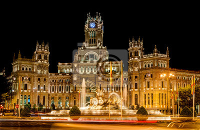 Постер Города и карты Plaza Cibeles, Мадрид, Испания - на ночь, 31x20 см, на бумагеМадрид<br>Постер на холсте или бумаге. Любого нужного вам размера. В раме или без. Подвес в комплекте. Трехслойная надежная упаковка. Доставим в любую точку России. Вам осталось только повесить картину на стену!<br>