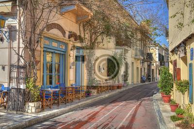 Постер Греция Традиционные дома в районе Плака,Афины,ГрецияГреция<br>Постер на холсте или бумаге. Любого нужного вам размера. В раме или без. Подвес в комплекте. Трехслойная надежная упаковка. Доставим в любую точку России. Вам осталось только повесить картину на стену!<br>