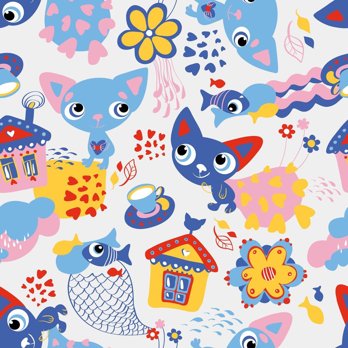 Постер Разные детские постеры Мило, забавно, бесшовные шаблон с кошками и рыбыРазные детские постеры<br>Постер на холсте или бумаге. Любого нужного вам размера. В раме или без. Подвес в комплекте. Трехслойная надежная упаковка. Доставим в любую точку России. Вам осталось только повесить картину на стену!<br>