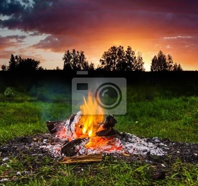 """Постер Огонь """"Камин в лес в сумерках"""" от Artwall"""