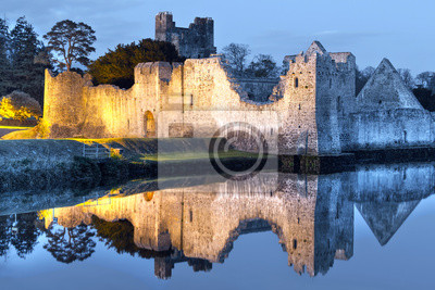 Постер Ирландия Руины парка замка на реке в ИрландииИрландия<br>Постер на холсте или бумаге. Любого нужного вам размера. В раме или без. Подвес в комплекте. Трехслойная надежная упаковка. Доставим в любую точку России. Вам осталось только повесить картину на стену!<br>