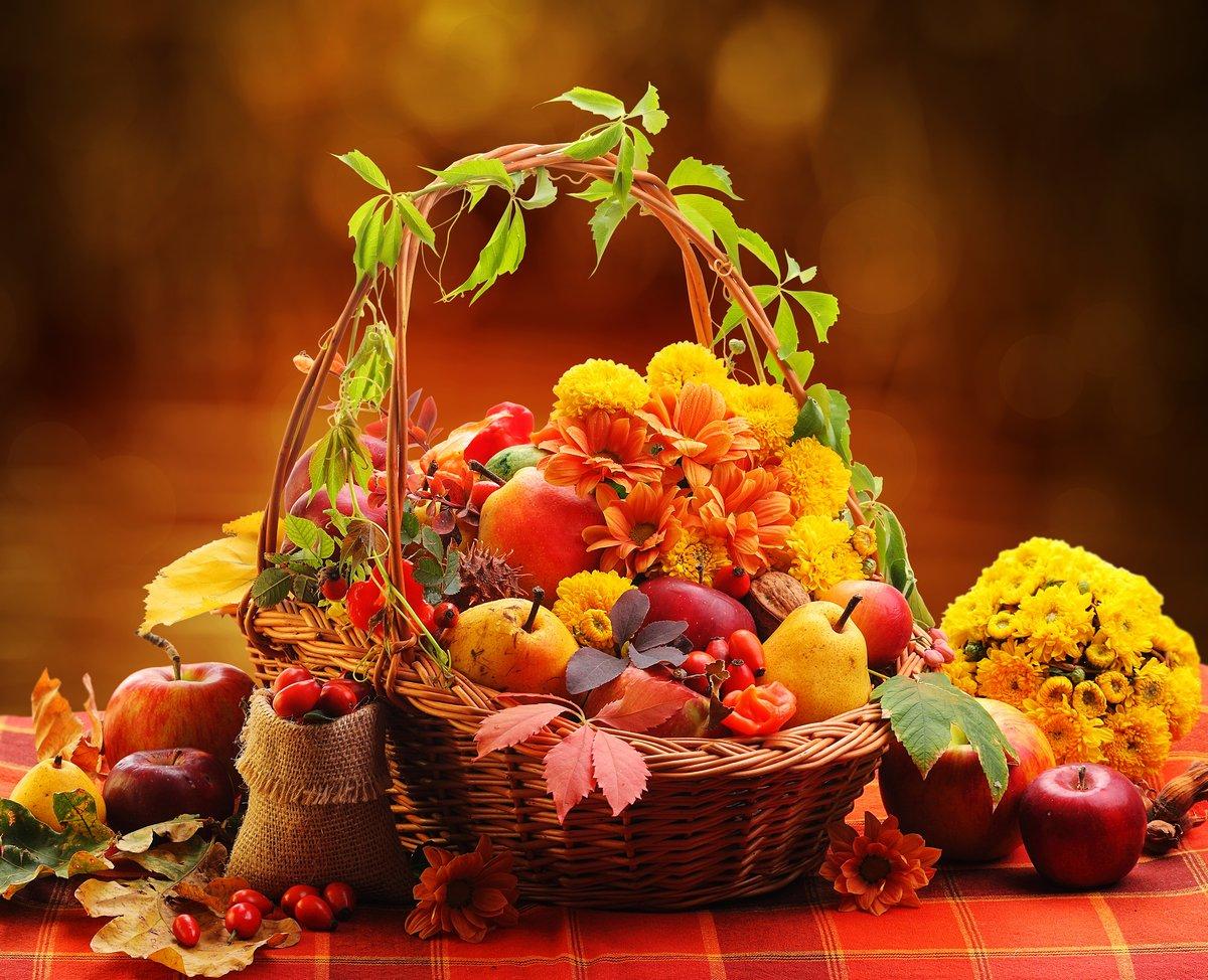 Постер Осень Плетеная корзина с осенние фрукты и цветыОсень<br>Постер на холсте или бумаге. Любого нужного вам размера. В раме или без. Подвес в комплекте. Трехслойная надежная упаковка. Доставим в любую точку России. Вам осталось только повесить картину на стену!<br>
