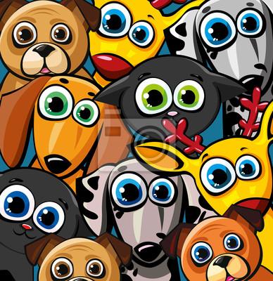 Постер Дизайнерские обои для детской Группа забавные животные - кошки, собаки и олениДизайнерские обои для детской<br>Постер на холсте или бумаге. Любого нужного вам размера. В раме или без. Подвес в комплекте. Трехслойная надежная упаковка. Доставим в любую точку России. Вам осталось только повесить картину на стену!<br>