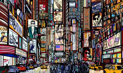 Постер Современный городской пейзаж Стрит в Нью-ЙоркеСовременный городской пейзаж<br>Постер на холсте или бумаге. Любого нужного вам размера. В раме или без. Подвес в комплекте. Трехслойная надежная упаковка. Доставим в любую точку России. Вам осталось только повесить картину на стену!<br>