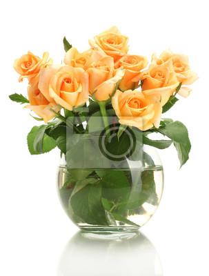 Постер Розы Красивый букет роз в прозрачной вазе, изолированных наРозы<br>Постер на холсте или бумаге. Любого нужного вам размера. В раме или без. Подвес в комплекте. Трехслойная надежная упаковка. Доставим в любую точку России. Вам осталось только повесить картину на стену!<br>