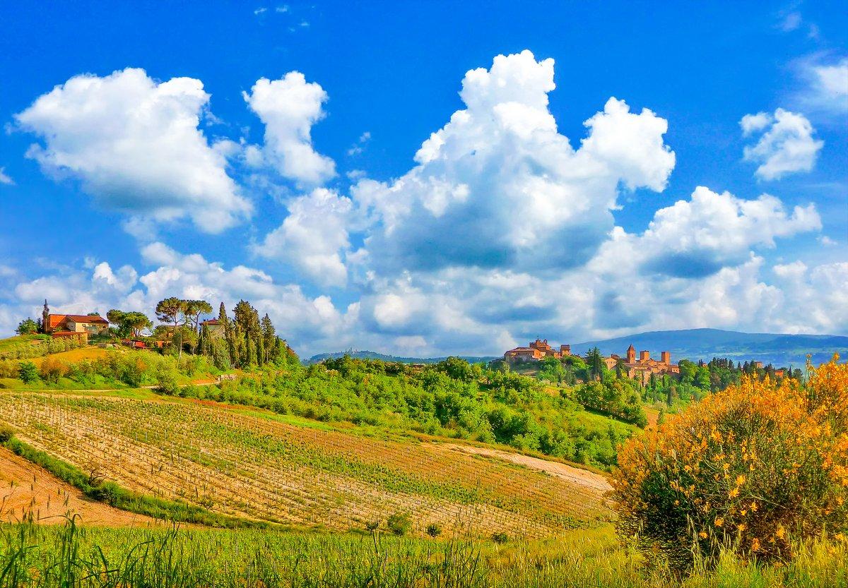 Постер Тоскана Красивый пейзаж с городом Сан-Джиминьяно в Тоскане, ИталияТоскана<br>Постер на холсте или бумаге. Любого нужного вам размера. В раме или без. Подвес в комплекте. Трехслойная надежная упаковка. Доставим в любую точку России. Вам осталось только повесить картину на стену!<br>