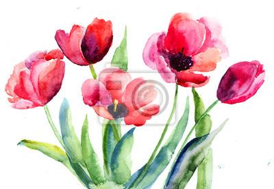 Постер Тюльпаны Тюльпаны цветыТюльпаны<br>Постер на холсте или бумаге. Любого нужного вам размера. В раме или без. Подвес в комплекте. Трехслойная надежная упаковка. Доставим в любую точку России. Вам осталось только повесить картину на стену!<br>