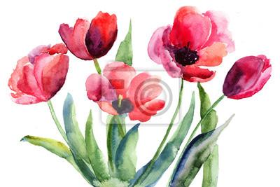 Постер Тюльпаны Красочные иллюстрации красные тюльпаны, цветыТюльпаны<br>Постер на холсте или бумаге. Любого нужного вам размера. В раме или без. Подвес в комплекте. Трехслойная надежная упаковка. Доставим в любую точку России. Вам осталось только повесить картину на стену!<br>