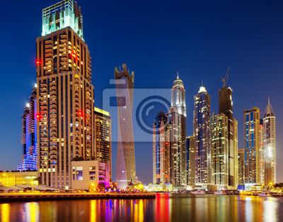 Постер Дубай Вид Dubai Marina, Дубай, ОАЭ в СумеркахДубай<br>Постер на холсте или бумаге. Любого нужного вам размера. В раме или без. Подвес в комплекте. Трехслойная надежная упаковка. Доставим в любую точку России. Вам осталось только повесить картину на стену!<br>