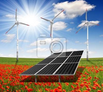 Постер Маки Солнечная энергия панели и ветряные турбины на маковое полеМаки<br>Постер на холсте или бумаге. Любого нужного вам размера. В раме или без. Подвес в комплекте. Трехслойная надежная упаковка. Доставим в любую точку России. Вам осталось только повесить картину на стену!<br>