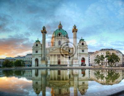 Постер Города и карты Karlskirche в Вене, Австрия, 26x20 см, на бумагеВена<br>Постер на холсте или бумаге. Любого нужного вам размера. В раме или без. Подвес в комплекте. Трехслойная надежная упаковка. Доставим в любую точку России. Вам осталось только повесить картину на стену!<br>