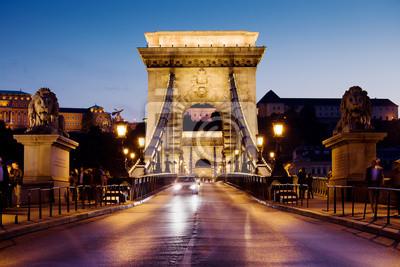 Постер Будапешт Цепной Мост в Будапешт в НочьБудапешт<br>Постер на холсте или бумаге. Любого нужного вам размера. В раме или без. Подвес в комплекте. Трехслойная надежная упаковка. Доставим в любую точку России. Вам осталось только повесить картину на стену!<br>