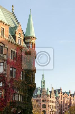 Постер Гамбург Гамбург - исторического SpeicherstadtГамбург<br>Постер на холсте или бумаге. Любого нужного вам размера. В раме или без. Подвес в комплекте. Трехслойная надежная упаковка. Доставим в любую точку России. Вам осталось только повесить картину на стену!<br>