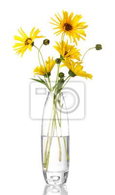 Постер Подсолнухи Красивые желтые цветы в вазе, изолированных на беломПодсолнухи<br>Постер на холсте или бумаге. Любого нужного вам размера. В раме или без. Подвес в комплекте. Трехслойная надежная упаковка. Доставим в любую точку России. Вам осталось только повесить картину на стену!<br>