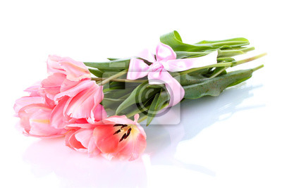 Красивые розовые тюльпаны, изолированных на белый., 30x20 см, на бумагеТюльпаны<br>Постер на холсте или бумаге. Любого нужного вам размера. В раме или без. Подвес в комплекте. Трехслойная надежная упаковка. Доставим в любую точку России. Вам осталось только повесить картину на стену!<br>