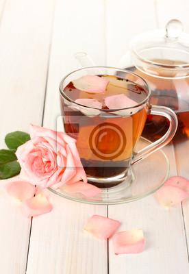 Постер Розы Чайник и чашка чая с розами на белый деревянный столРозы<br>Постер на холсте или бумаге. Любого нужного вам размера. В раме или без. Подвес в комплекте. Трехслойная надежная упаковка. Доставим в любую точку России. Вам осталось только повесить картину на стену!<br>
