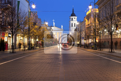 Постер Литва Гедиминас авеню в Вильнюсе в ночьЛитва<br>Постер на холсте или бумаге. Любого нужного вам размера. В раме или без. Подвес в комплекте. Трехслойная надежная упаковка. Доставим в любую точку России. Вам осталось только повесить картину на стену!<br>