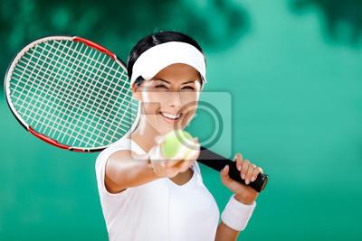 Постер Большой теннис Женщина в спортивной одежды служит Теннисный мяч. КонкурсБольшой теннис<br>Постер на холсте или бумаге. Любого нужного вам размера. В раме или без. Подвес в комплекте. Трехслойная надежная упаковка. Доставим в любую точку России. Вам осталось только повесить картину на стену!<br>