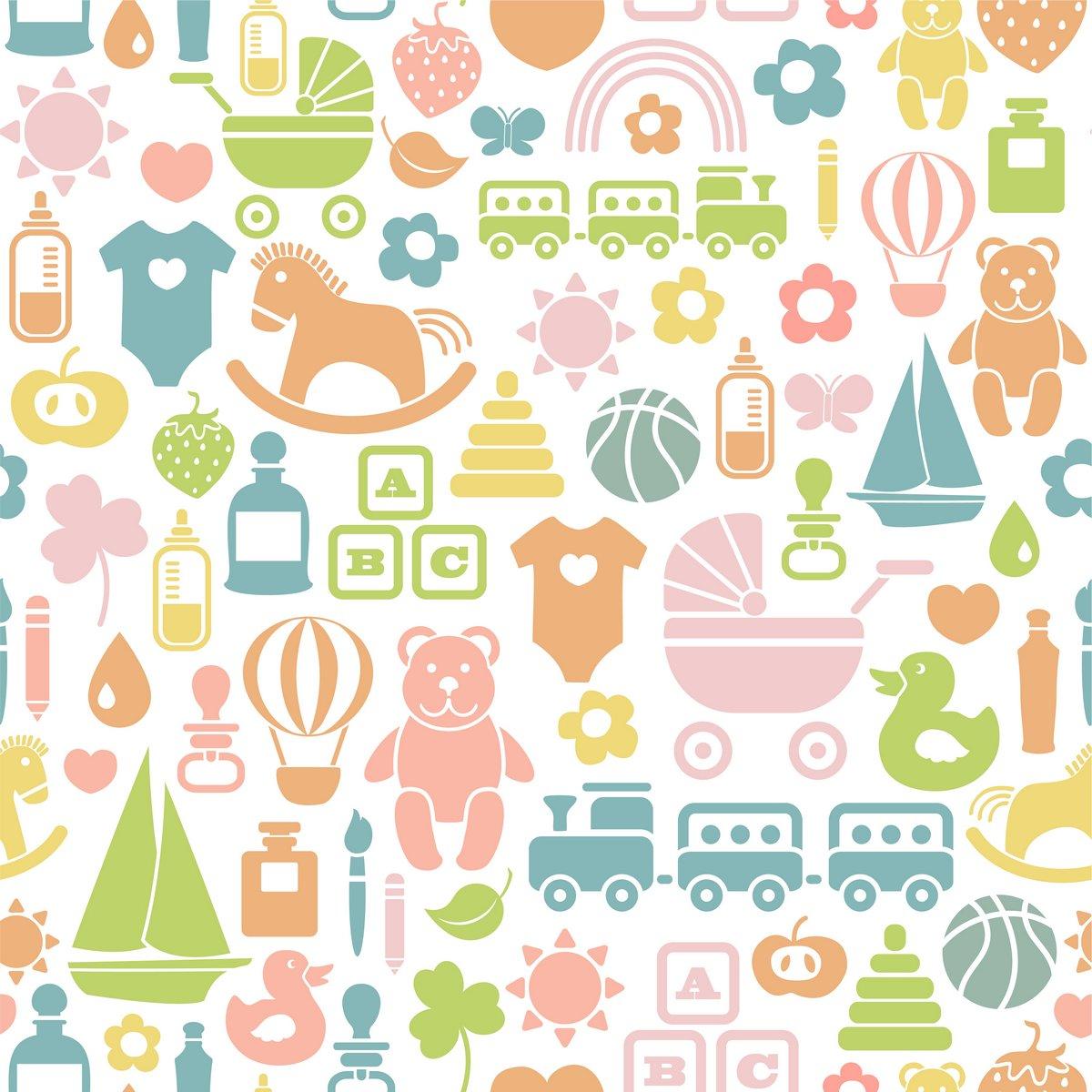 Постер Дизайнерские обои для детской Цельной картины с красочная детская иконыДизайнерские обои для детской<br>Постер на холсте или бумаге. Любого нужного вам размера. В раме или без. Подвес в комплекте. Трехслойная надежная упаковка. Доставим в любую точку России. Вам осталось только повесить картину на стену!<br>