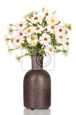 Постер Ромашки Красивый букет белых цветов в вазе, изолированных на беломРомашки<br>Постер на холсте или бумаге. Любого нужного вам размера. В раме или без. Подвес в комплекте. Трехслойная надежная упаковка. Доставим в любую точку России. Вам осталось только повесить картину на стену!<br>