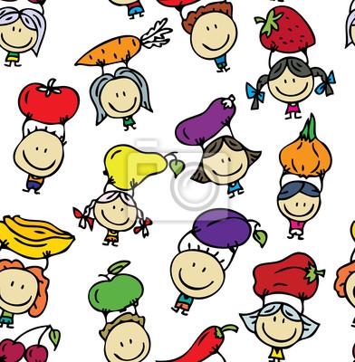 Бесшовные фоне счастливые дети с фруктами и овощами, 60x61 см, обоиДизайнерские обои для детской<br>Постер на холсте или бумаге. Любого нужного вам размера. В раме или без. Подвес в комплекте. Трехслойная надежная упаковка. Доставим в любую точку России. Вам осталось только повесить картину на стену!<br>